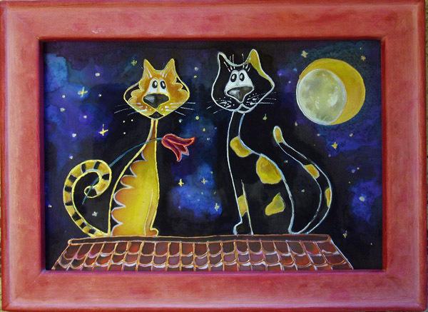 Батика с котами