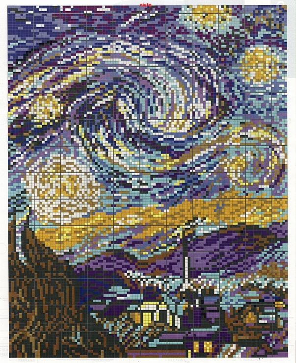 Схема вышивки картин ван гога 95