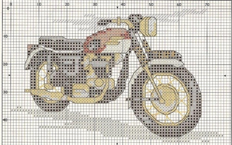 Схема для вышивки девушка и мотоцикл