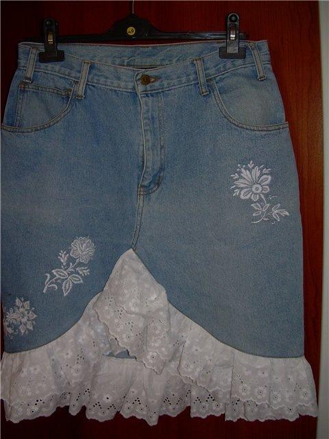 Как переделать старую джинсовую юбку своими руками с кружевом 38