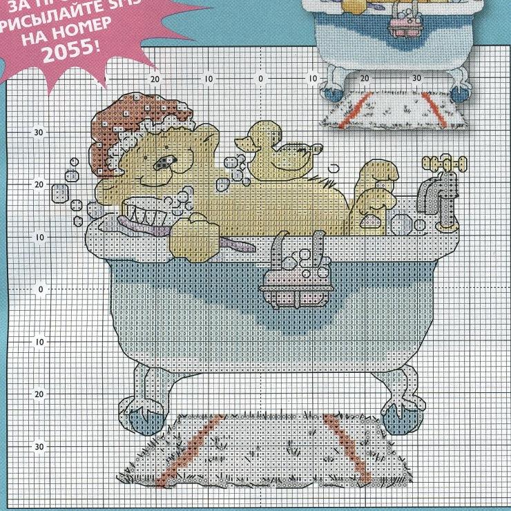 Вышивка крестом для ванны и туалета 8
