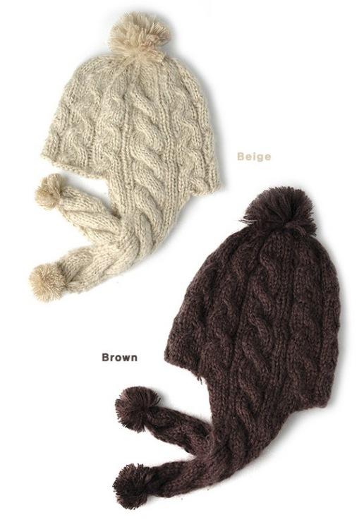 Как связать шапку косами с ушками