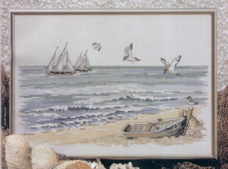 Вышивка крестиком с лодками 23