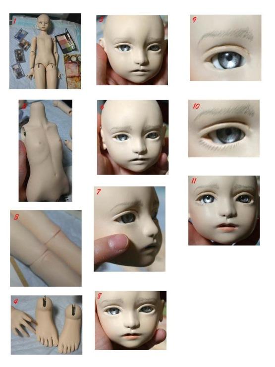 Как из пластики сделать лицо куклы из